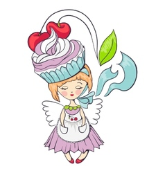 cartoon girl with cake on her head vector image