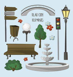 City street urban elements icon set vector