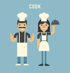 Cook Concept Male and Female Cartoon Characters vector image vector image