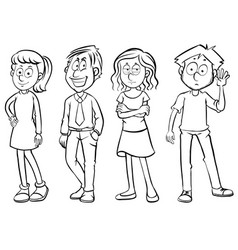 doodles character for men and women vector image vector image