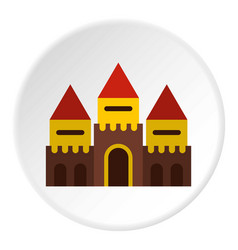Fairy tale castle icon circle vector