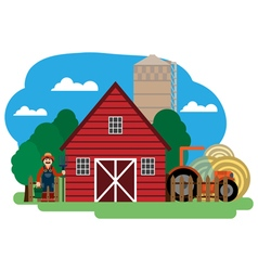 Farmer farm building and related items vector