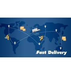 Fast delivery banner world map with routes vector