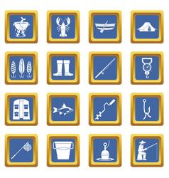 Fishing tools icons set blue vector
