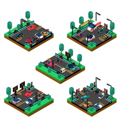 Futuristic Vehicles Isometric Concept vector image