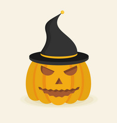 Halloween pumpkin with witch hat flat style icon vector