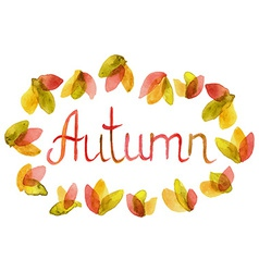 Hand drawn word autumn in watercolor leaves frame vector