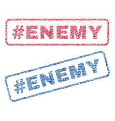 Hashtag enemy textile stamps vector