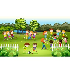 Kids playing games in the park vector