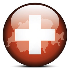 Map on flag button of switzerland swiss vector