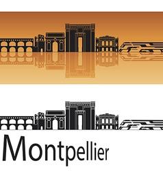 Montpellier skyline in orange background vector image