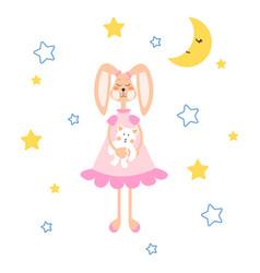 Pajamas with tilda bunny bear plush vector
