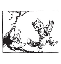 Raccoon playing accordion rabbit dancing vintage vector
