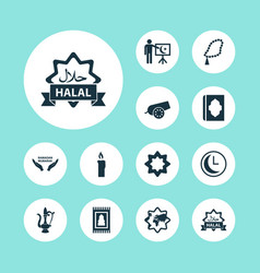 Ramadan icons set collection of leaning oriental vector