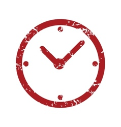 Red grunge clock logo vector image