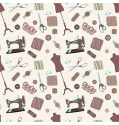 Retro seamless pattern with sewing accessories vector