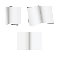 Set of 3 opened magazines with blank pages vector