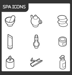 spa outline isometric icons vector image vector image