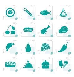 Stylized different kind of food icons vector