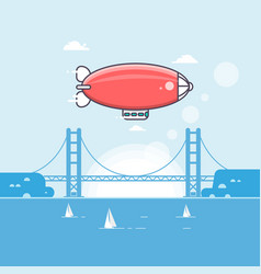 Travel time airship in the sky with clouds vector