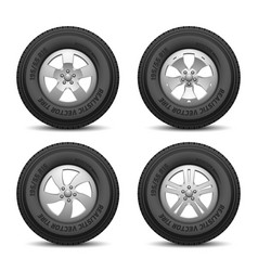 truck and car wheels with tires and disk vector image vector image
