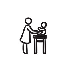 Woman taking care of baby sketch icon vector