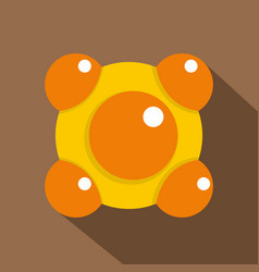 yellow and orange molecules icon flat style vector image vector image
