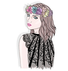 Young girl with flower crown vector