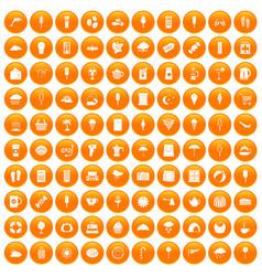 100 ice cream icons set orange vector