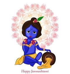 Little cartoon lord krishna with pot of butter vector