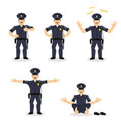 Police set of motion cop set different poses vector