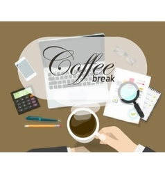 Coffee break banner  rest time concept on vector