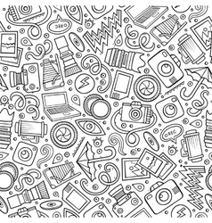 Cartoon cute hand drawn photo seamless pattern vector