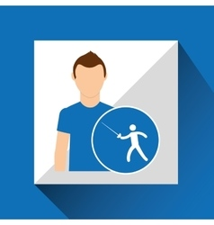 Athlete man fencing sport graphic vector