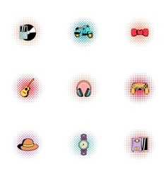 Modern hipsters icons set pop-art style vector