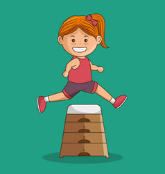 little girl athlete character vector image