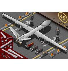 Isometric drone airplane landed in rear view vector