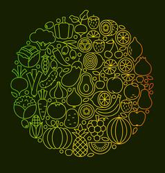 Fruit vegetable line icons design vector