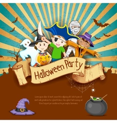 Kids in halloween party vector