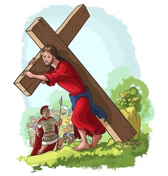 Jesus christ carrying cross vector