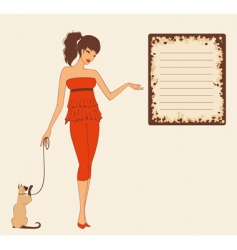 Girl with cat vector
