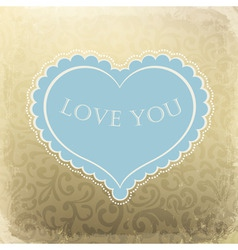 Vintage ornamented gift card with heart shaped spa vector