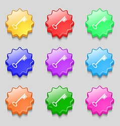Key icon sign symbols on nine wavy colourful vector