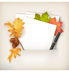 Paper sheet in pocket and fallen leaves vector