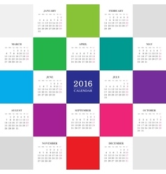 Calendar 2016 year with colored square vector