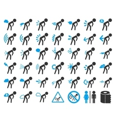 Fart boys icon collection vector