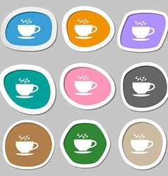 The tea and cup symbols multicolored paper vector