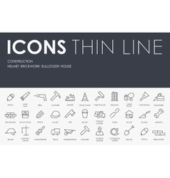Construction thin line icons vector