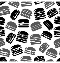 Hamburgers types fast food icons seamless black vector