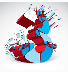 abstract low poly wrecked colorful number 3 with vector image vector image